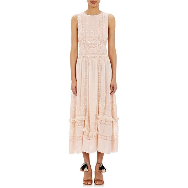 Ulla Johnson Women's Silk Alice Dress ($635) ❤ liked on Polyvore featuring dresses, pink, lined dress, floral embroidered dress, jewel neckline dress, zipper dress and zip dress