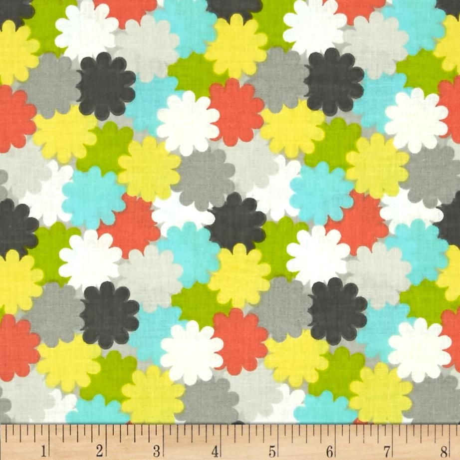 Floral Fairground Packed Floral Gray from @fabricdotcom  For Fabric Editions, this cotton print fabric is perfect for quilting, apparel and home decor accents. Colors include yellow, green, aqua blue, coral, white and shades of grey.
