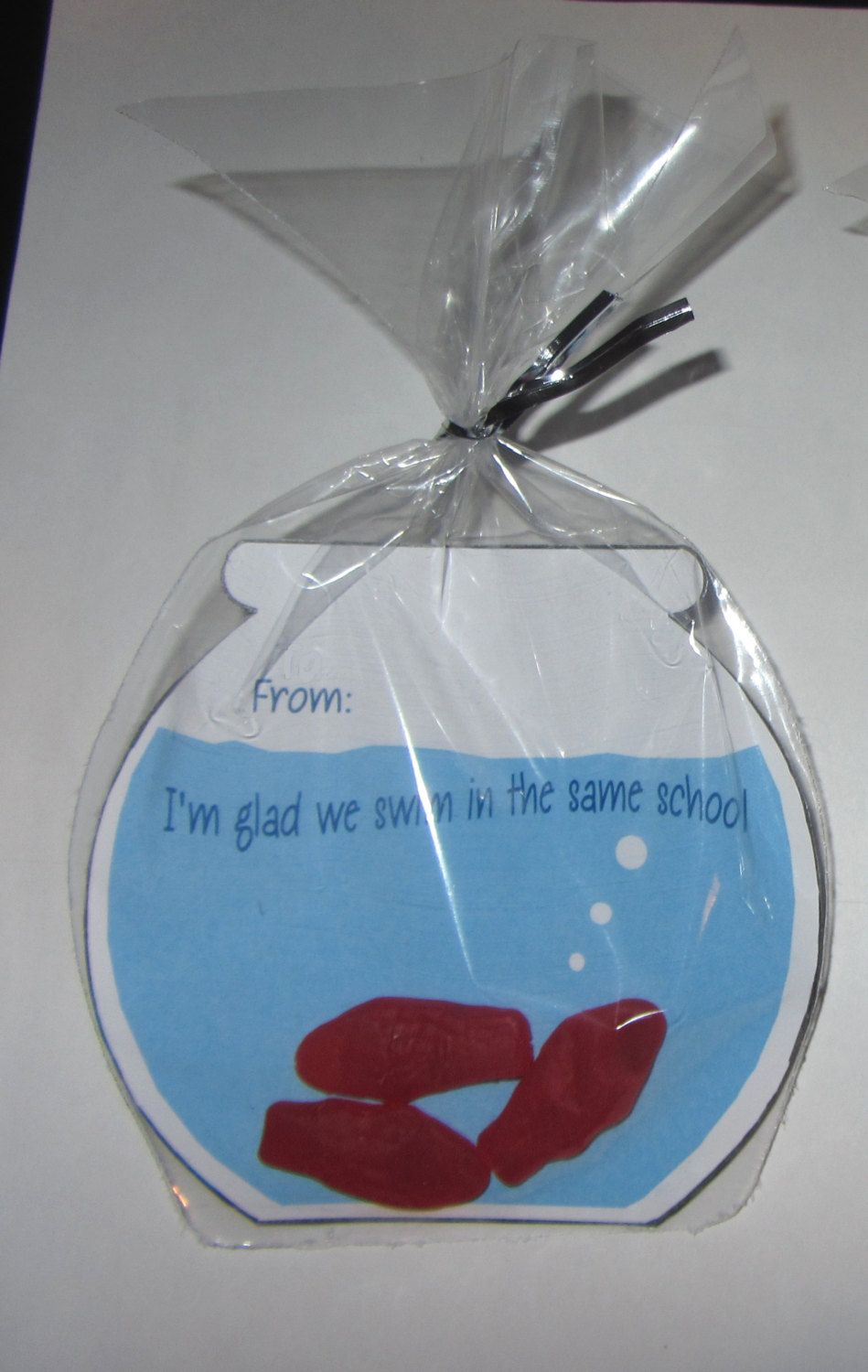 KIDS VALENTINE CARD,Swedish Fish Candy Favor,bags And Ties Included,fish  Bowl