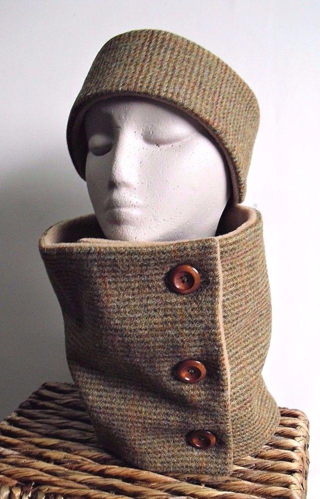 HARRIS TWEED Cowl Neckwarmer Scarf   Ear Warmers Headband Set fleece lined. 2bd77690c51