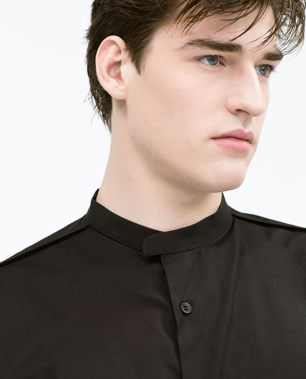 ZARA MAN POPLIN SHIRT WITH MAO COLLAR (With images