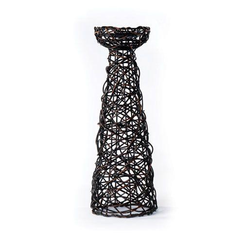 Patina Metal Black Woven Rattan Candle Holder Tall New Rustics Furniture  Company Candlehol