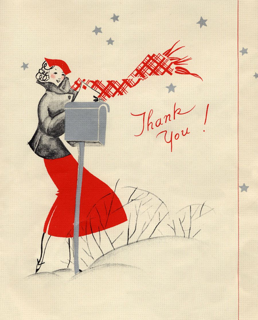 Lovely Vintage Christmas Thank You Card Vintage Christmas Cards