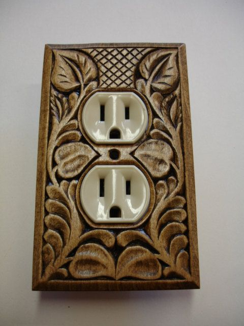 Designer Hand Carved Electric Outlet Cover Plate On Etsy 22 00