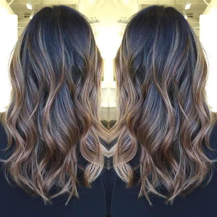 black hair with blonde highlights all over | Hair color ...