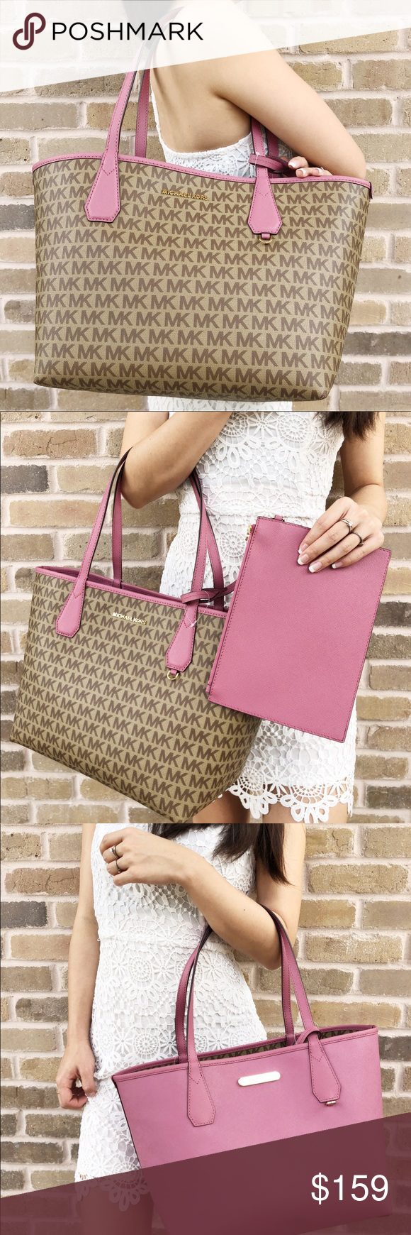ade350eb66e4a5 NWT Michael Kors candy reversible tote Tulip pink 16