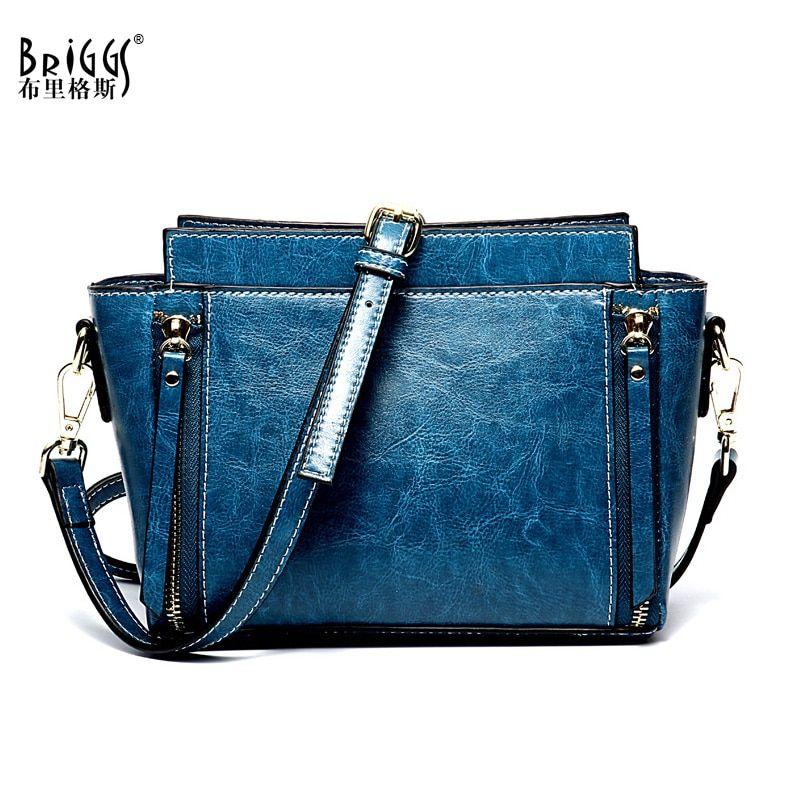 a4b267519e BRIGGS Genuine Leather Women Shoulder Bag Vintage Crossbody Bag Luxury  Handbag Women Bag Designer Ladies Messenger Bag For Women