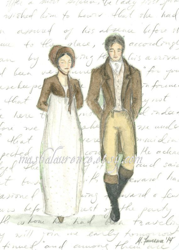 Mr Darcy and Elizabeth Bennet at Pemberley Art Print  Pride and