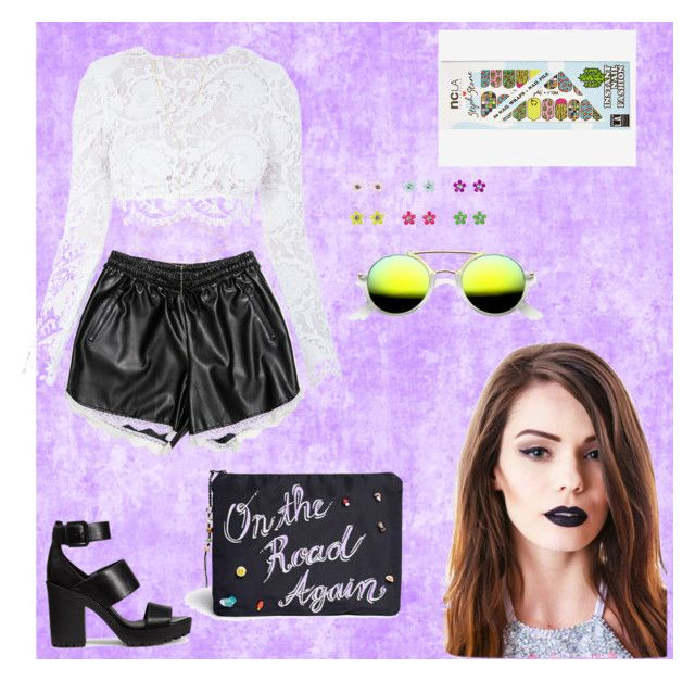 Weekends by penak on Polyvore featuring polyvore, fashion, style, Stone_Cold_Fox, Carmakoma, H&M, Venessa Arizaga, Chan Luu, Lime Crime, ncLA, white, black, lace, colorful and leathershorts