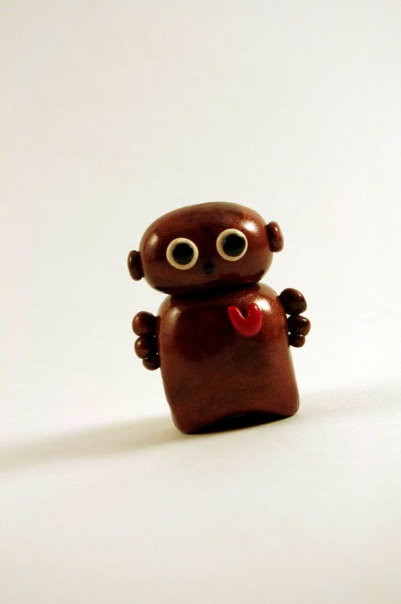 Robot Polymer Clay Miniature Sculpture Brown The Helpful by Cyclop, $13.50
