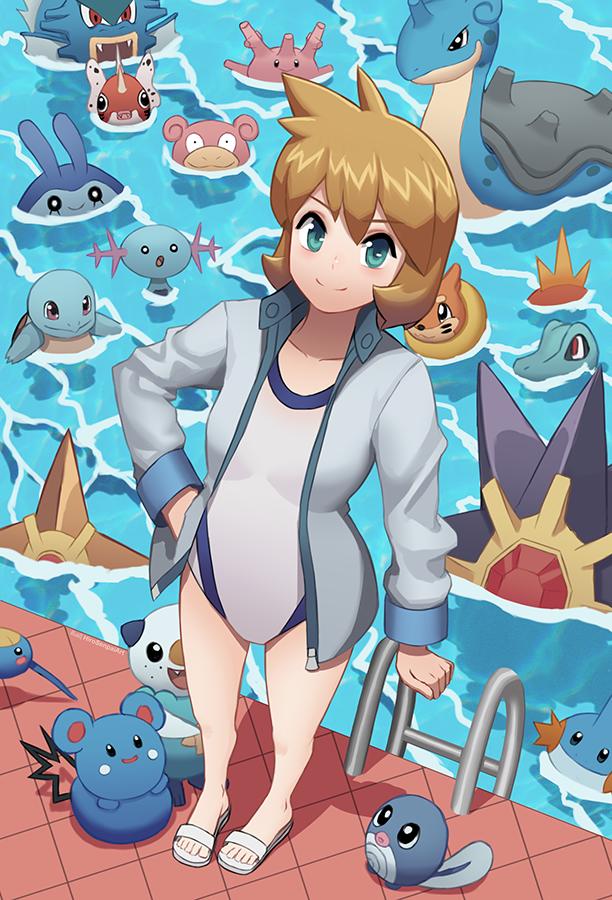 I drew Misty and her precious water pokemon, I hope you ...