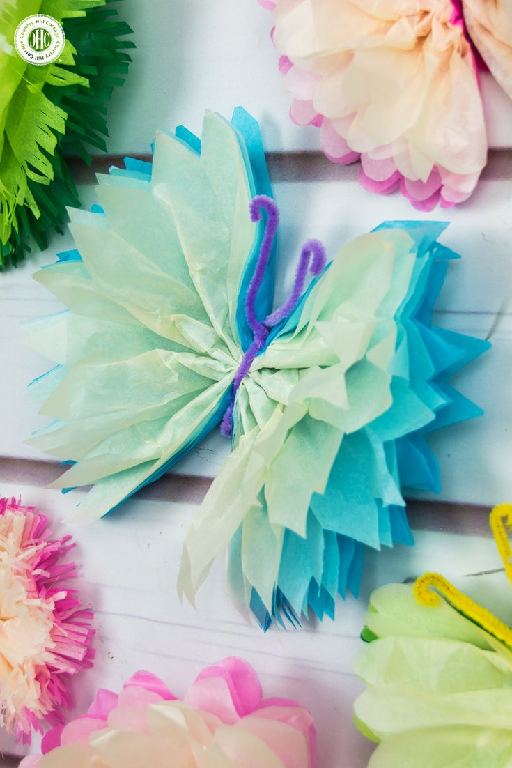 Tissue Paper Butterflies  Fun Paper Craft DIY is part of Paper butterfly crafts - Frilly tissue paper butterflies are a beautiful decoration! In this paper craft DIY, we show an easy technique to create colourful and elegant butterflies