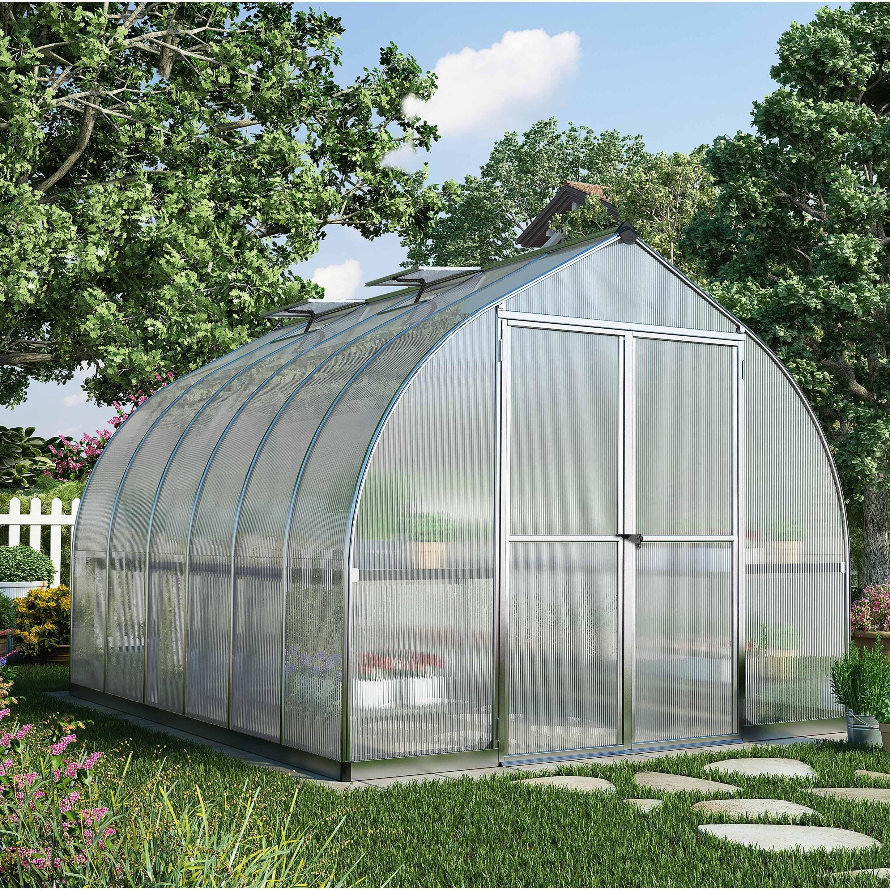 Serre De Jardin Bella 8 6 M Aluminium Et Polycarbonate Double Parois Palram En 2020 Serre Arriere Cour Jardins Champetres Et Plans De Serre