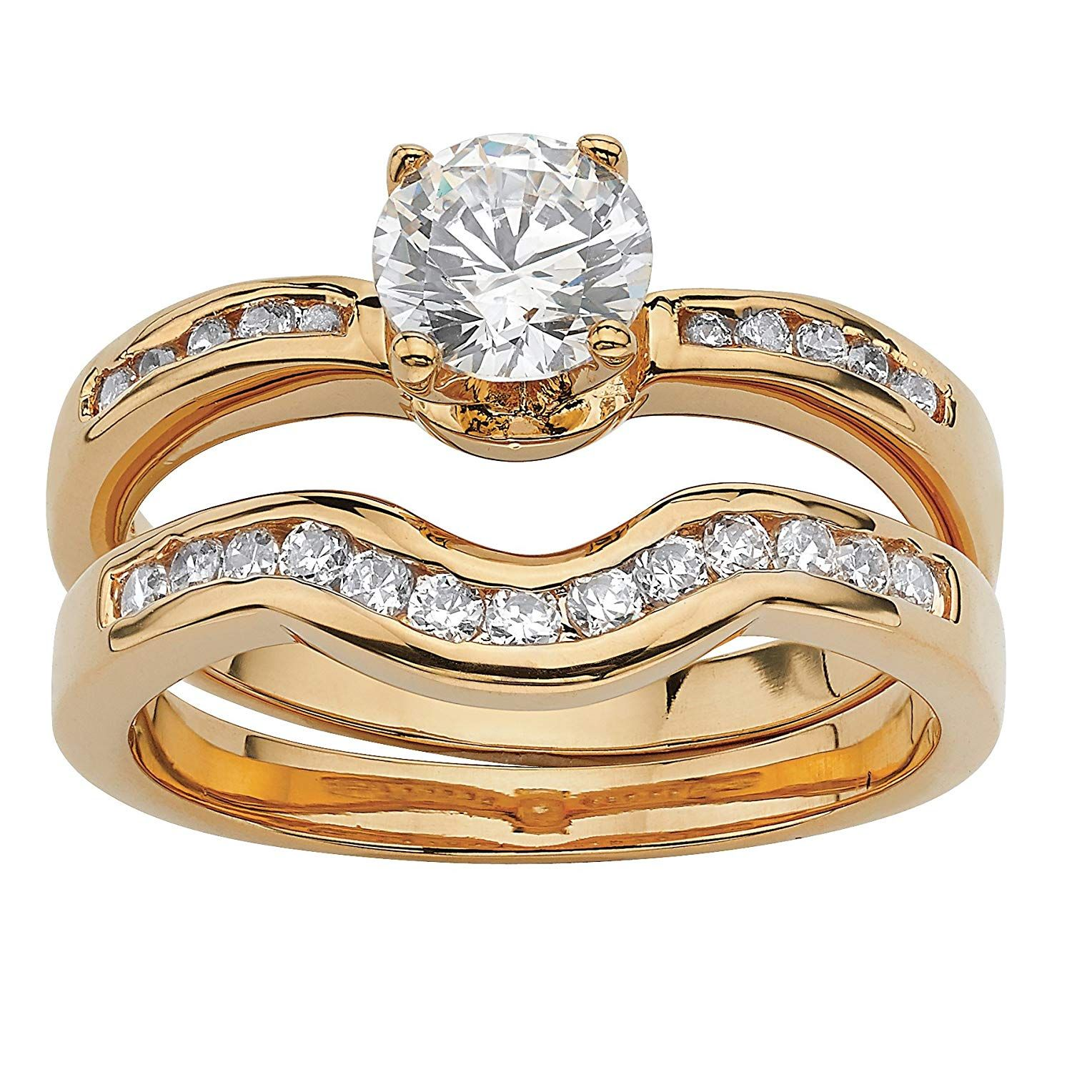 Palm Beach Jewelry 18k Yellow Gold Plated Round Cubic Zirconia Bridal Ring Set Click Image For More Details In 2020 Bridal Rings Bridal Ring Set Bridal Ring Sets