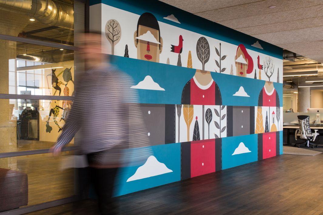 MailChimp's New Atlanta Office Brings Street Art Indoors | Office mural, Office wall art, Wall ...