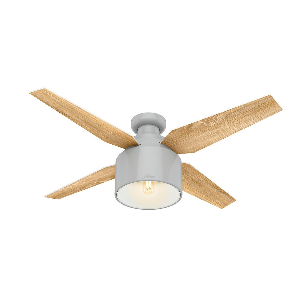 Hunter Cranbrook 52 In Led Low Profile Indoor Dove Grey Ceiling Fan With Light Kit And Remote Control 50264 The Ceiling Fan With Light Fan Light Ceiling Fan