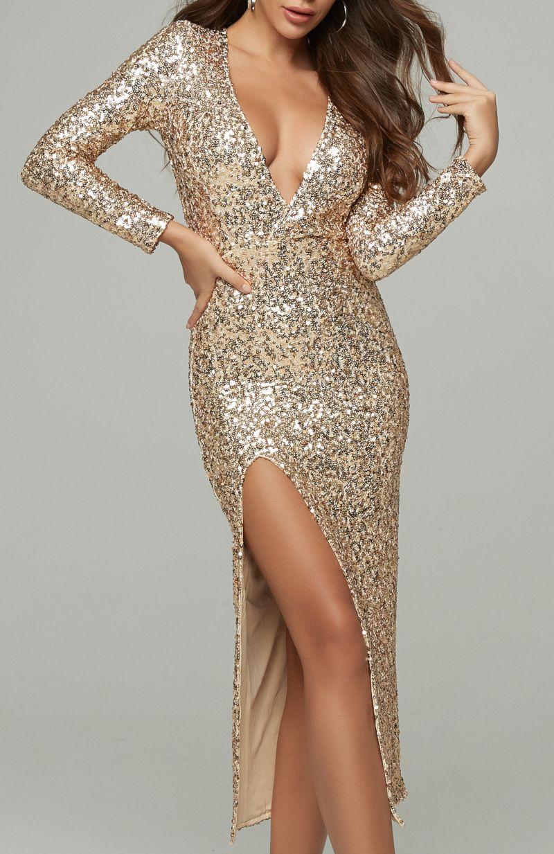 Long Sleeve Sequin Midi Dress Gold Free Express Shipping Worldwide Dresses Long Sleeve Sequin Party Dress Long Sleeve