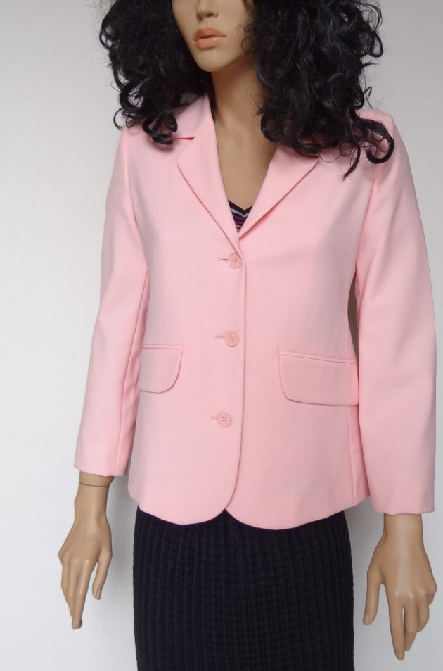 Women's Pink Coat United Colors of Benetton Size 44 3 Buttons Autumn Long Sleeve