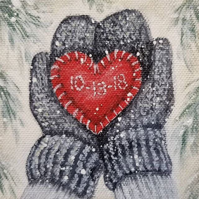 Winter Mittens w/ Personalized Heart Christmas Ornament ...