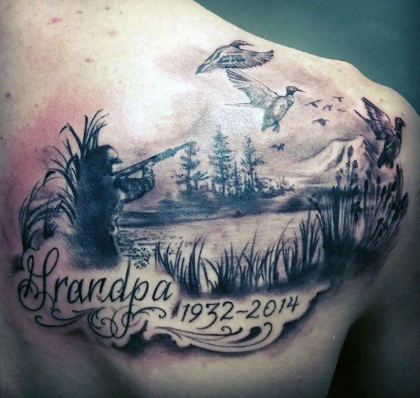 Hunting Fishing Tattoos For Men Back 600 568