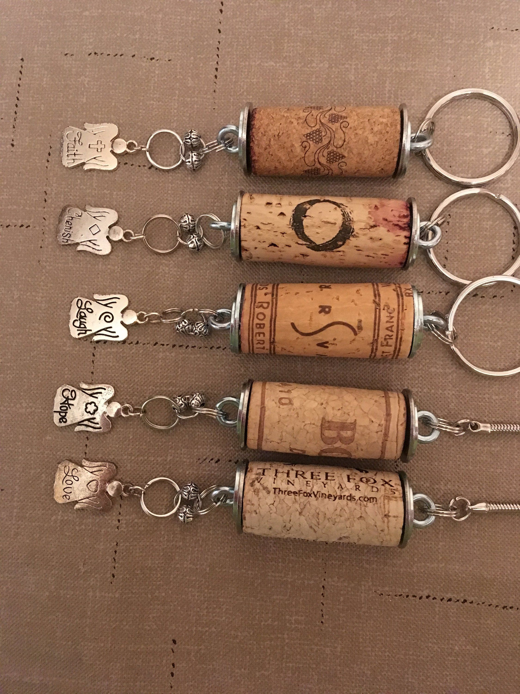 Wine Cork Keychain Wine Cork Key Holder Wine Cork Charm Keychain Wine Lovers Gift Angel Charm Keychain Any O Wine Cork Jewelry Cork Jewelry Wine Cork