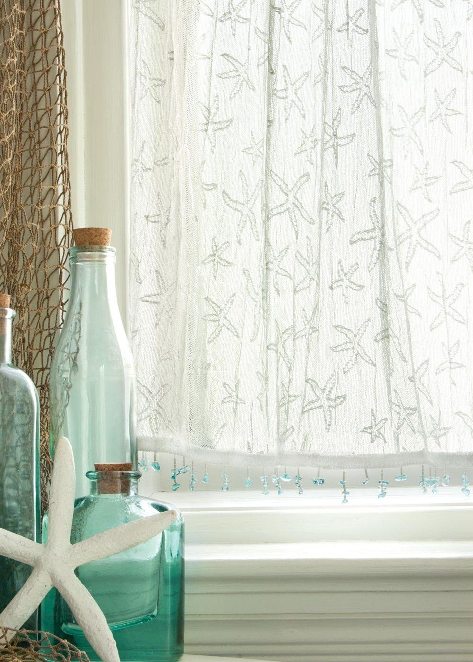 White Lace Starfish Curtain Coastal Curtain Beach Curtain