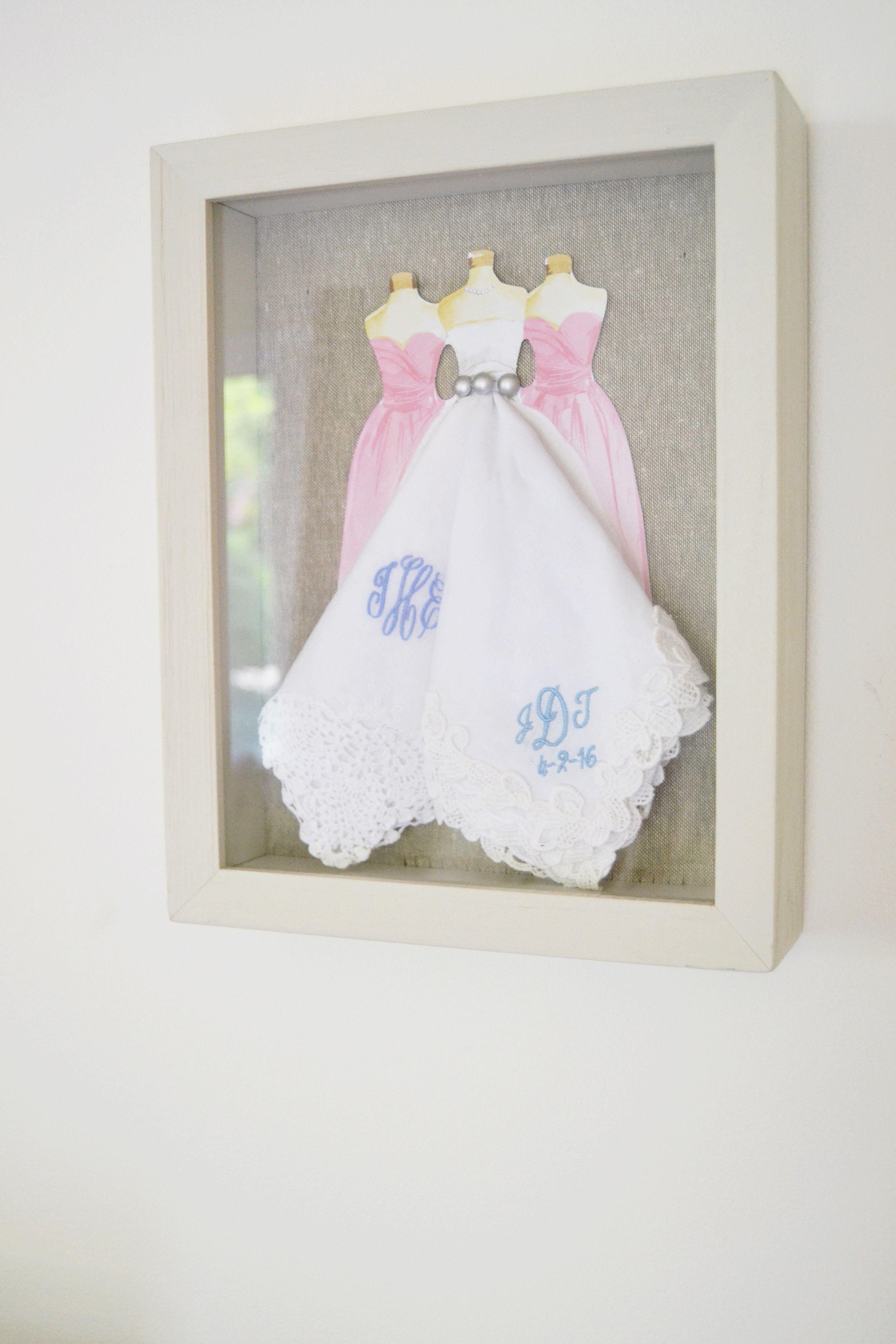 Wedding handkerchiefs in shadow box Cricut wedding