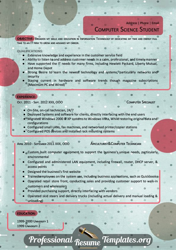 great student resume template Resume Templates Pinterest - computer technician resume template