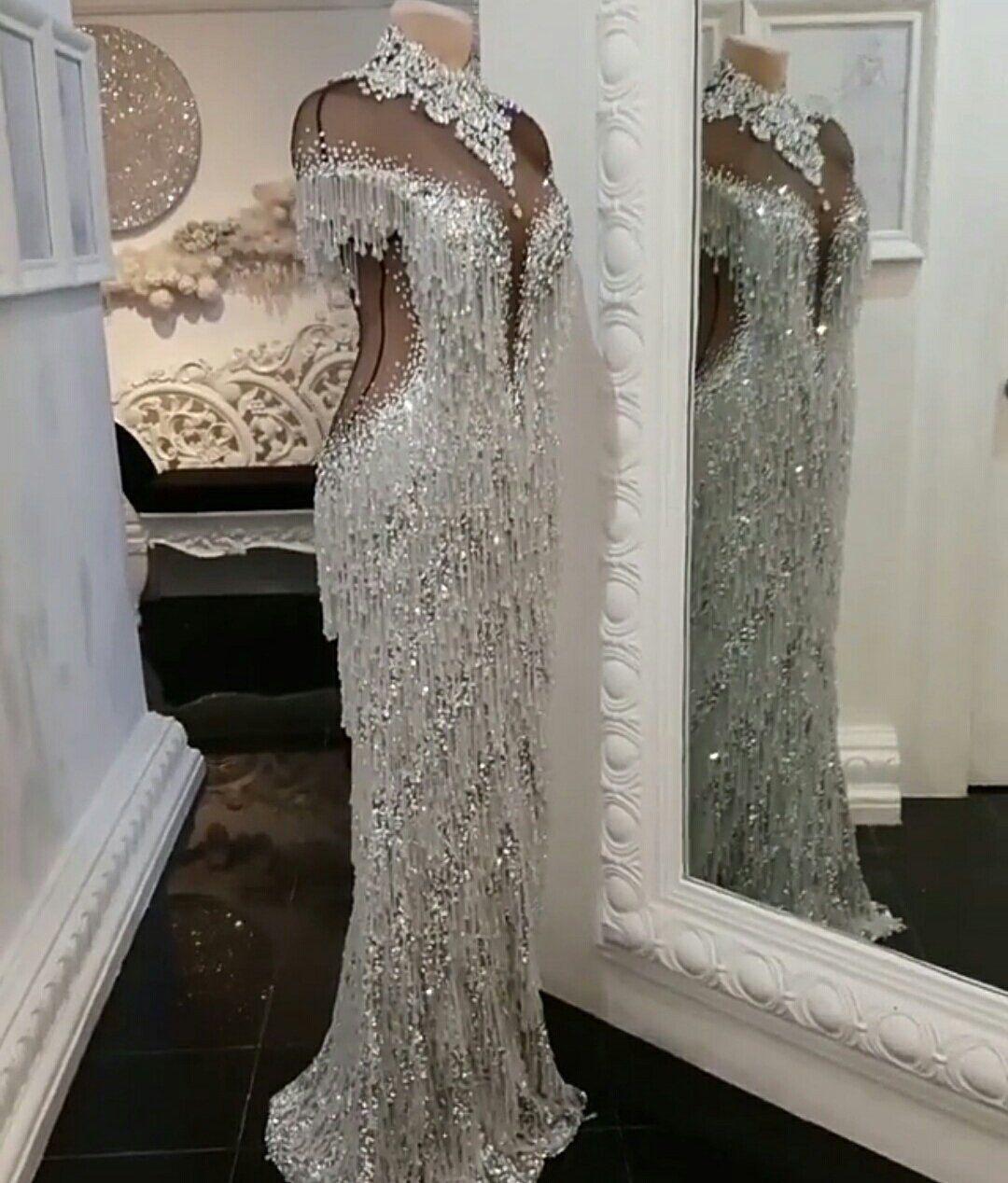 Couture-Swarovski-Kristallen Perlen bestickte Kleid Fransen  Etsy