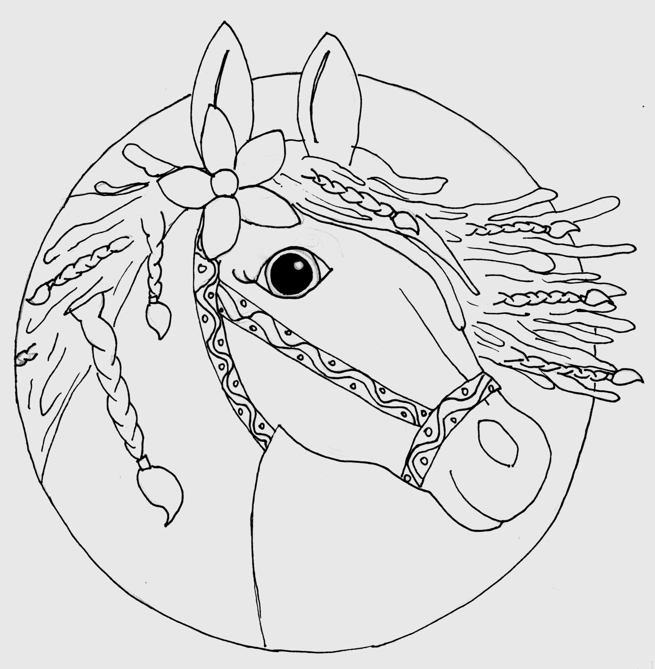 Pferdekopf Ausmalbild gezeichnet von Louisa (8) Ausmalen