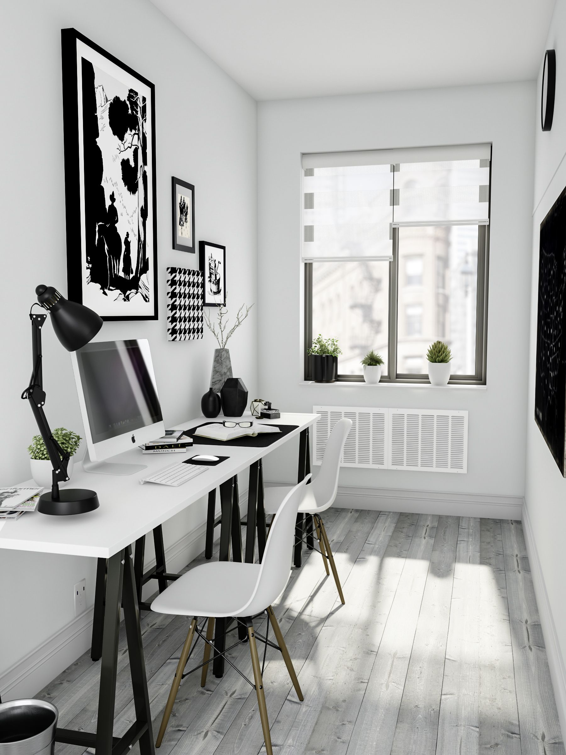 Modern Black And White Home Office Decor Design