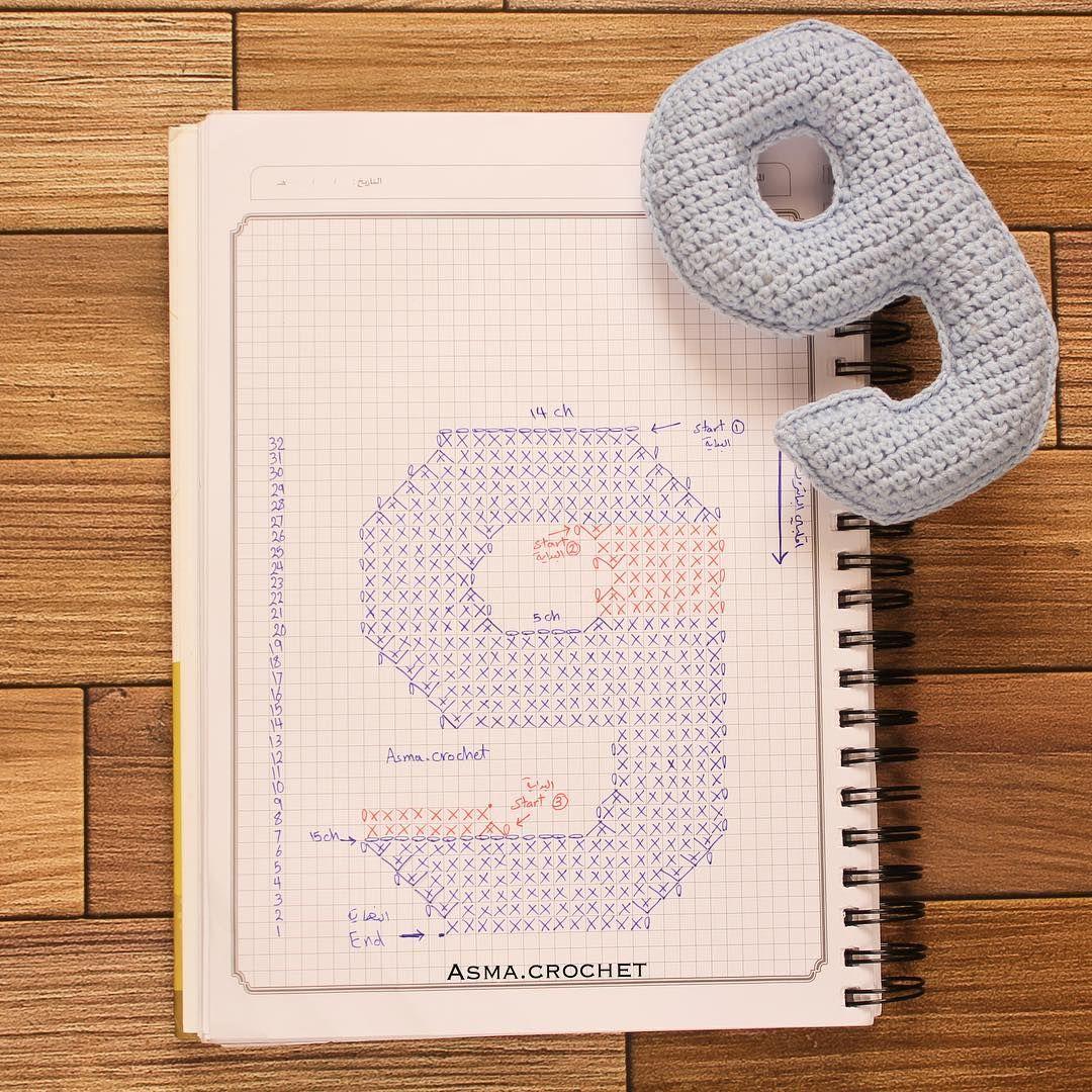 وأخيراً انتهينا من الأرقام .👏🏼💕 . #crochet_numbers #crochet ...