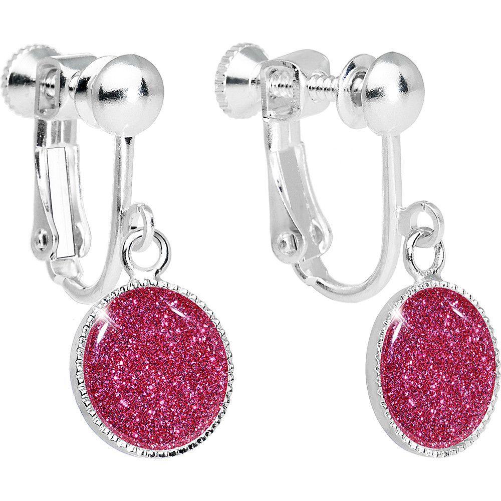 Flamingo Pink Glitter Dangle Clip Earrings