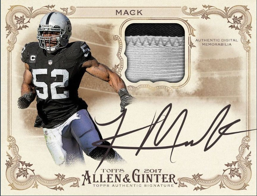 Topps Huddle 2017 Allen Ginter Khalil Mack Signature Relic Digital Card Football Cards Cards Sports Cards