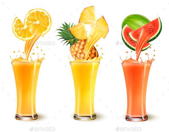 Set Of Fuit Juice Splash In A Glass Fruit Splash Juice Logo Fruit Juice
