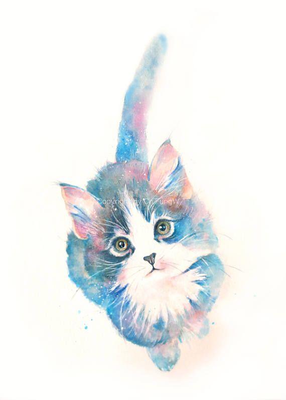 Kitten Cat Kitten Print Animal Print Giclee Art Cat Art