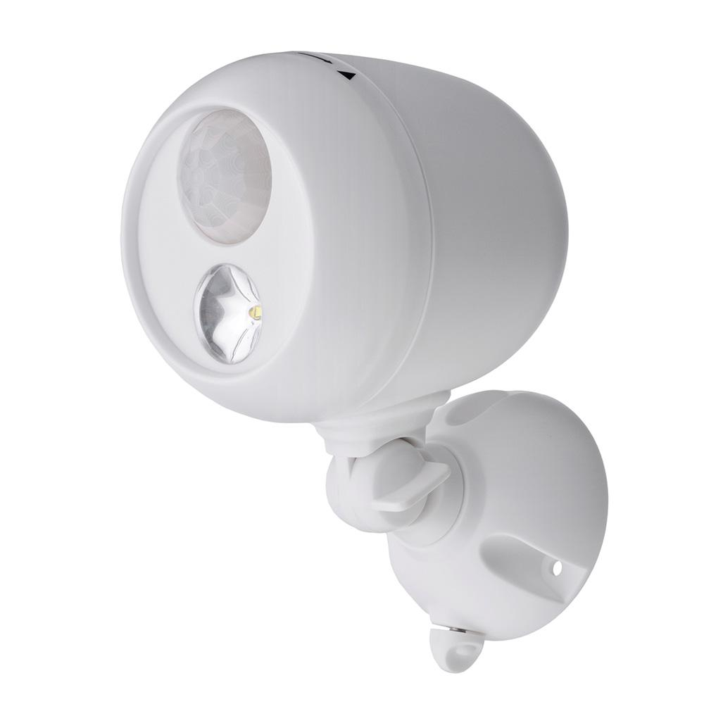 Mr Beams Outdoor White Wireless Motion Sensing Led Spot Light Mb330 The Home Depot