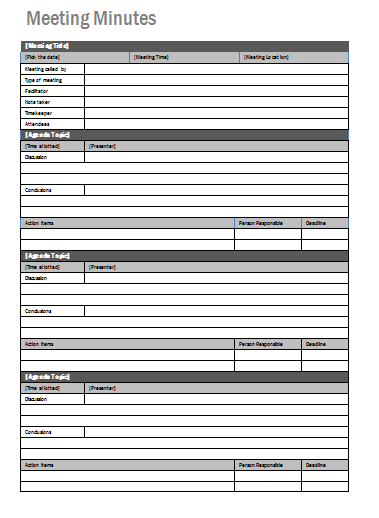 Meeting Minutes Template | For Work - Administrative | Pinterest ...
