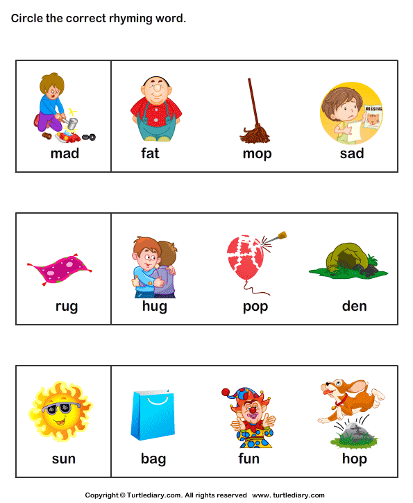 Worksheets Rhyme Words words that rhyme for kids laptuoso laptuoso
