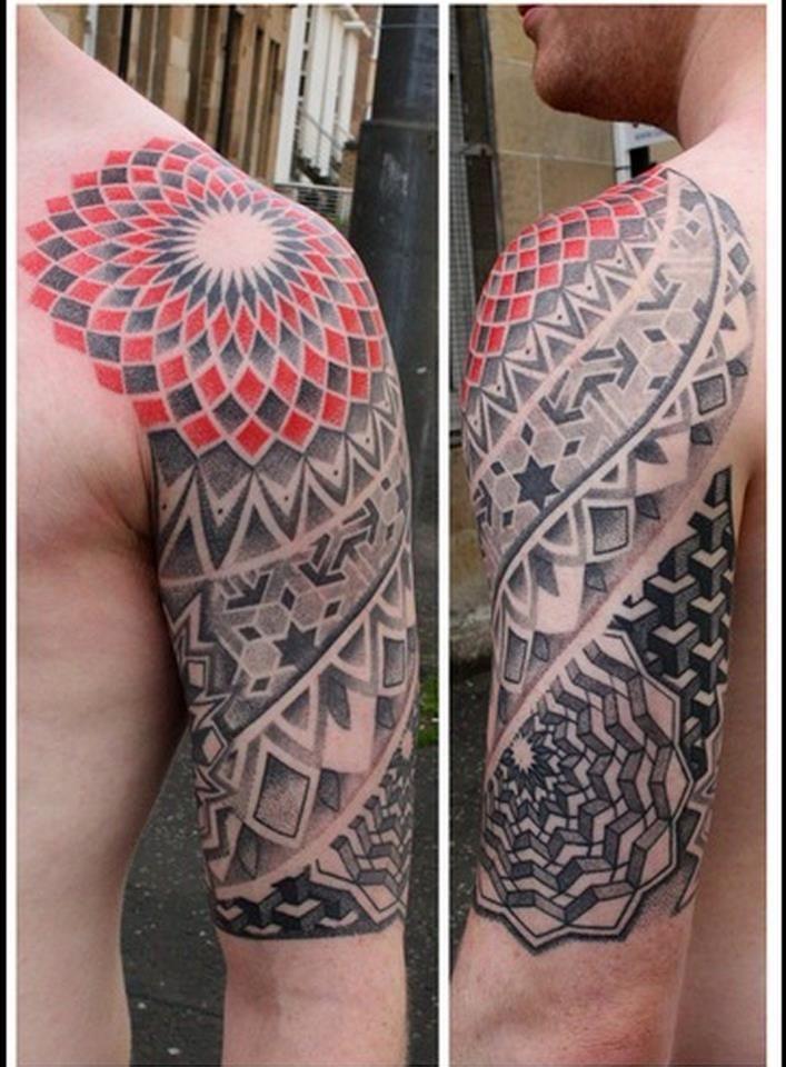 Mandala shoulder half sleeve tattoo by emma sweeney for Higgins ink tattoo
