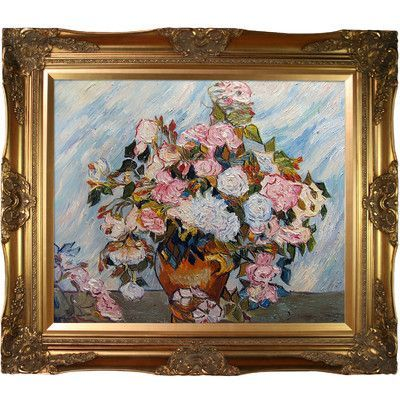 Tori Home Still Life Vase with Roses by Vincent Van Gogh Framed Hand Painted Oil Reproduction