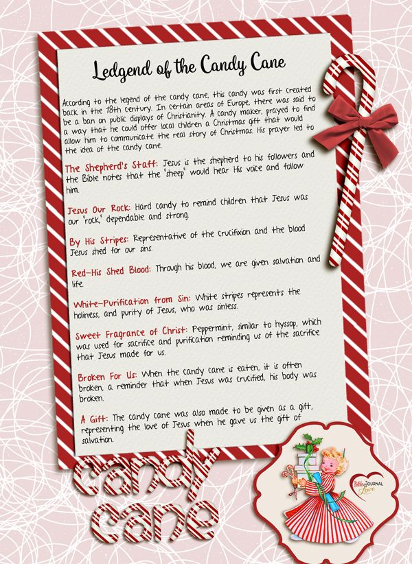 free printable the candy cane legend true meaning of christmas biblejournallovecom - Hard Candy Christmas Meaning