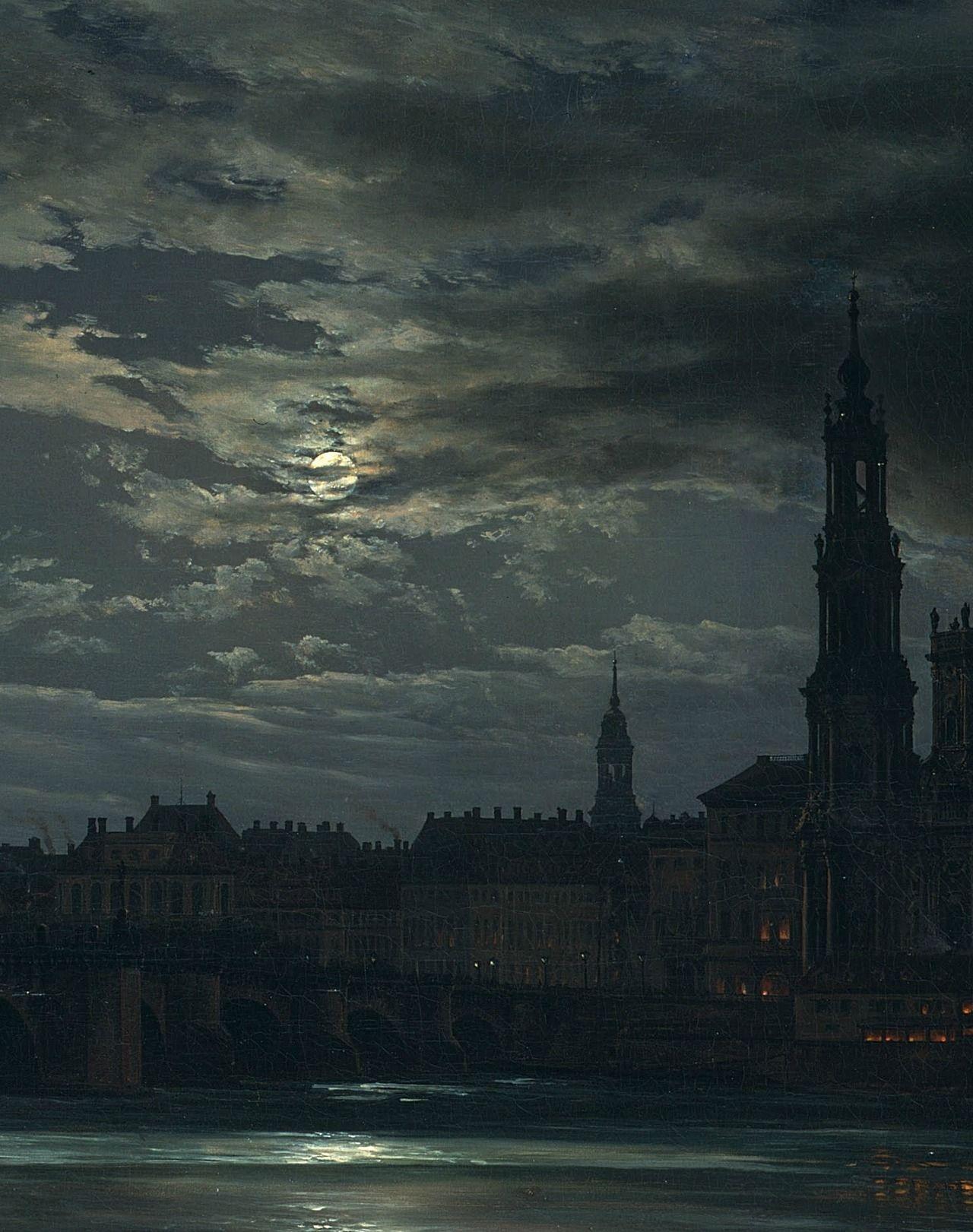Johan christian dahl view of dresden by moonlight 1839
