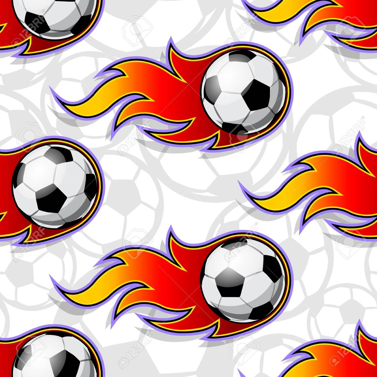 Seamless Pattern With Football Soccer Ball Icons And Flames Vector Illustration Ideal For Wallpap In 2020 Construction Business Cards Soccer Ball Vector Illustration