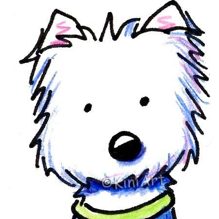original aceo art westie terrier dog breed cartoon 40 00 via etsy rh pinterest nz  westie christmas clipart