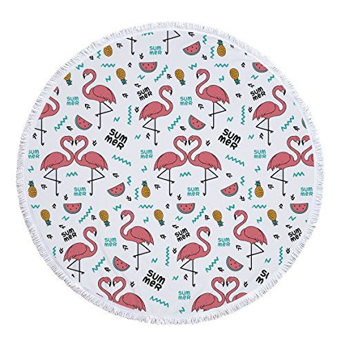 Round Flamingo Bath Mat