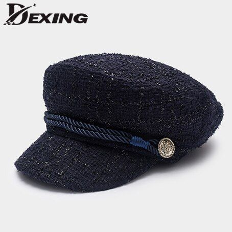 New Trend Hats for Women French Style Wool Bakers Boy Military Flat Hat Female Cool Black Beret Visor Hat