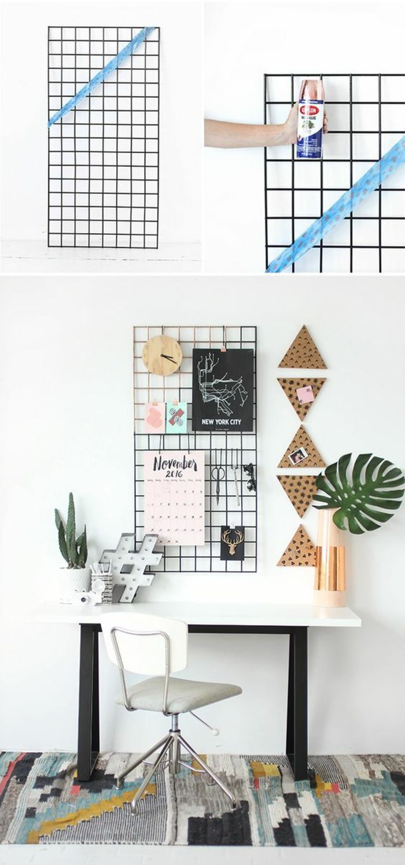 Arbeitszimmer wandgestaltung  pinnwand selber machen aus draht, arbeitszimmer, wanddeko ...