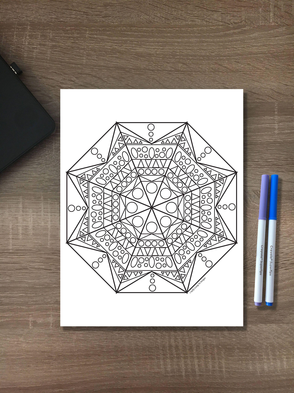 Easy geometric mandala pattern design coloring sheet diy pdf