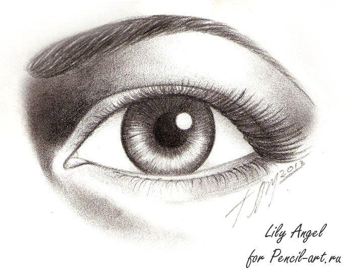 рисунок карандашом глаз фото